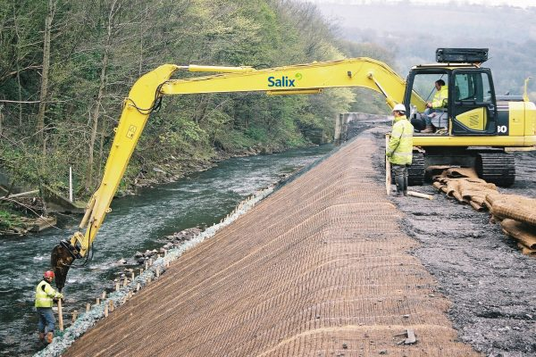 long reach excavator in action